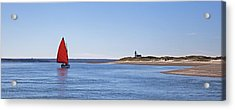 Ripple Catboat With Red Sail And Lighthouse Acrylic Print