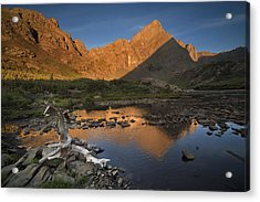 Rippled Reflections Of Crestone Needle Acrylic Print by Mike Berenson