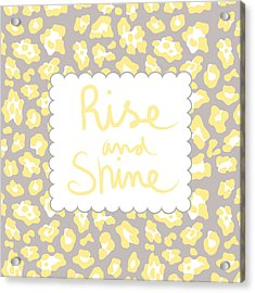 Rise And Shine- Yellow And Grey Acrylic Print