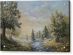 Rising Mist In The Berkshires In Ma Acrylic Print by  Luczay