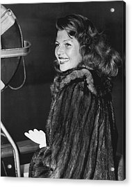 Rita Hayworth In Fur Coat Acrylic Print by Retro Images Archive