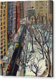 Rittenhouse Square In The Snow Acrylic Print by Joseph Levine