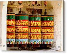 Ritual Prayer Wheels At A Buddhist Acrylic Print by Jaina Mishra