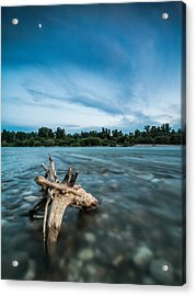 River At Night Acrylic Print by Davorin Mance
