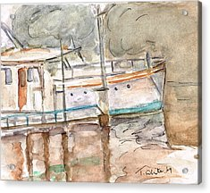 Acrylic Print featuring the painting River Boat  by Teresa White