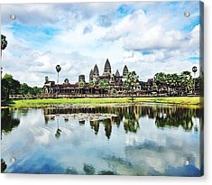 River By Angkor Wat Against Sky Acrylic Print