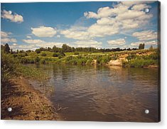 River Flows Acrylic Print by Jenny Rainbow