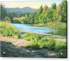 River Forks Morning Acrylic Print by Karen Ilari