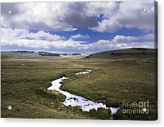 River In A Landscape Acrylic Print by Bernard Jaubert