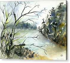 River In Autumn Acrylic Print by Gwen Nichols