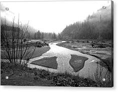 River In The Rain Acrylic Print by Gordon  Grimwade