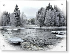 River In Winter. Textured Acrylic Print by Conny Sjostrom