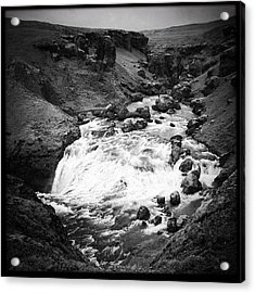 River Landscape Iceland Black And White Acrylic Print