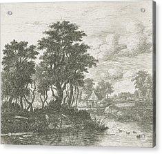River Landscape With An Angler, Hermanus Jan Hendrik Van Acrylic Print by Hermanus Jan Hendrik Van Rijkelijkhuysen And Meindert Hobbema