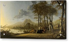 River Landscape With Horseman And Peasants Acrylic Print