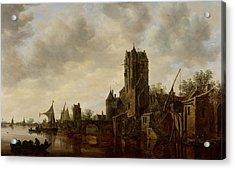 River Landscape With The Pellecussen Gate Near Utrecht Acrylic Print by Jan Josephsz van Goyen