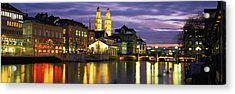 River Limmat Zurich Switzerland Acrylic Print by Panoramic Images