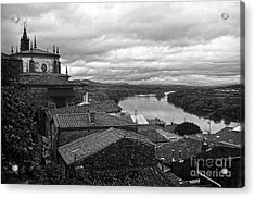 River Mino And Portugal From Tui Bw Acrylic Print