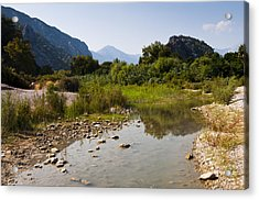 Acrylic Print featuring the photograph River On The Beach by David Isaacson