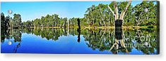 River Panorama And Reflections Acrylic Print by Kaye Menner
