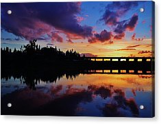River Reflection Sunset Acrylic Print