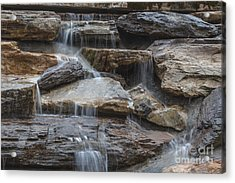 River Rock Waterfall Acrylic Print by Michael Waters