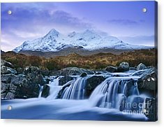 Waterfall And The Cuillins Acrylic Print by Rod McLean