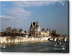 River View In Paris Acrylic Print by John Rizzuto