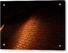 River Walk Brick Wall Acrylic Print by Shawn Marlow