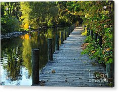 Acrylic Print featuring the photograph River Walk In Traverse City Michigan by Terri Gostola