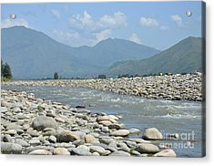 Riverbank Water Rocks Mountains And A Horseman Swat Valley Pakistan Acrylic Print by Imran Ahmed