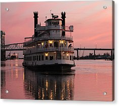 Riverboat At Sunset Acrylic Print by Cynthia Guinn