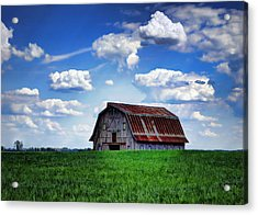 Riverbottom Barn Against The Sky Acrylic Print by Cricket Hackmann