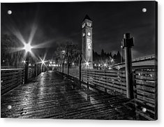 Riverfront Park Clocktower Seahawks Black And White Acrylic Print