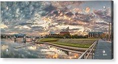 Riverfront Pier Sunrise  Acrylic Print