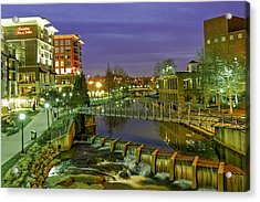 Riverplace And Art Crossing At Sunset In Downtown Greenville Sc Acrylic Print