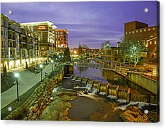 Riverplace In Downtown Greenville Sc At Twilight Acrylic Print