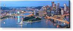 Rivers Bridges And Skyscrapers In Pittsburgh Acrylic Print