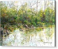 River's Edge Acrylic Print by Elizabeth Crabtree