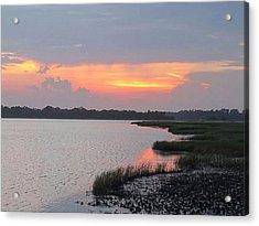 River's Edge Sunset Acrylic Print by Joetta Beauford