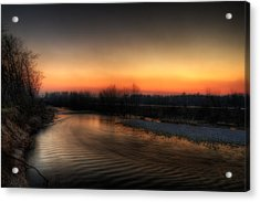 Riverscape At Sunset Acrylic Print