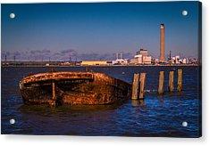 Riverside Wreck Acrylic Print by Dawn OConnor