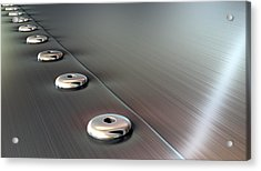 Rivets On Brushed Metal Perspective Acrylic Print