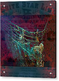 Rms Titanic Sinks  Acrylic Print by Elizabeth McTaggart