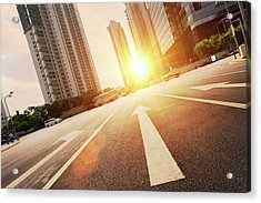 Road In City With Sunset Acrylic Print by Loveguli