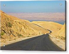 Road Leading To The Dead Sea, Jordan Acrylic Print by Keren Su