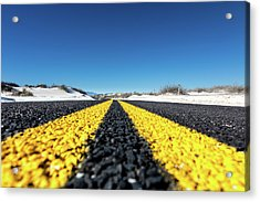 Road Markings On Asphalt Acrylic Print