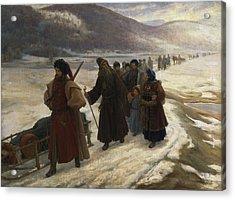 Road To Siberia Oil On Canvas Acrylic Print by Sergei Dmitrievich Miloradovich
