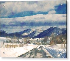 Road To The Mountains Acrylic Print by Kathy Jennings