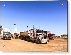 Road Trains Refuelling Acrylic Print by Colin and Linda McKie